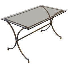 Brushed Steel and Brass End Table