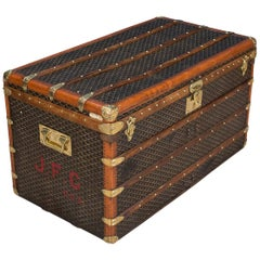 Antique 20th Century Goyard Chevron Canvas Trunk, circa 1910