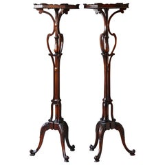 Pair of Victorian Style Carved Mahogany Plant Pedestals or Stands