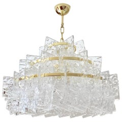 Contemporary Italian Couture Crystal Clear Murano Glass Round Brass Chandelier