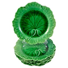 Wedgwood Majolica Green Cabbage Leaf Plate circa 1920 -1930, Multiples Available