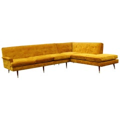 Mid-Century Modern 2 Pc Sectional Sofa Dunbar or Probber Attributed 1960s