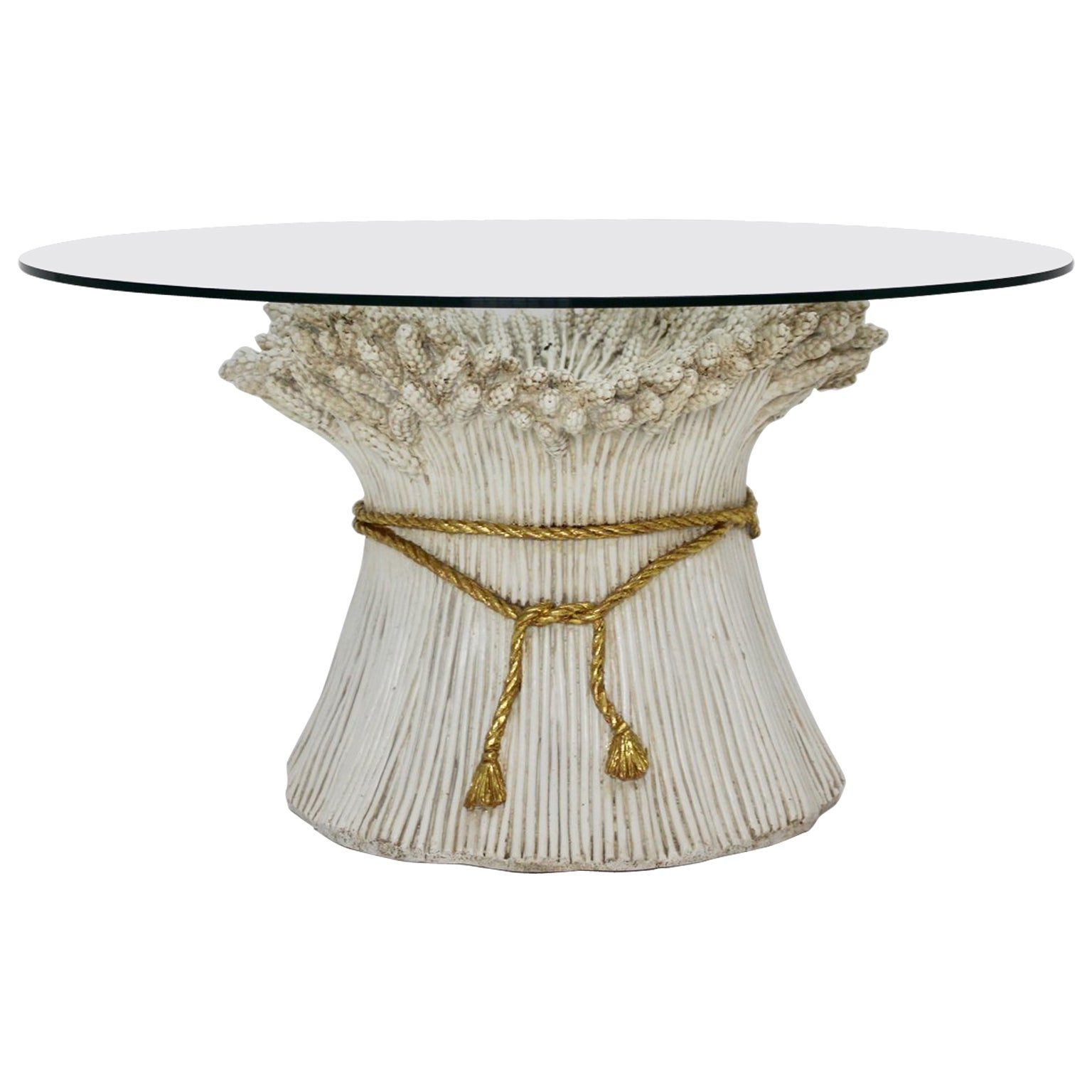 White and Gold Hollywood Regency Sheaf of Wheat Coffee Table, 1970s, Italy