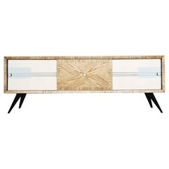 Midcentury Vintage Ash Sideboard with Hand Painted Pattern, 1960s