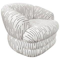 Vladimir Kagan Swivel Chair in Original Black and White Fabric