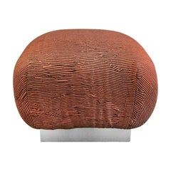 1970s Pouf in Black and Rust Abstract Stripe on Stainless Steel Base