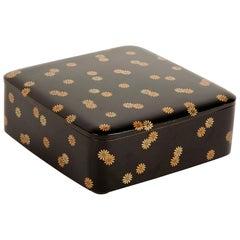Ryoshibako Document Box of Black Lacquer with Gold Chrysanthemum Decoration