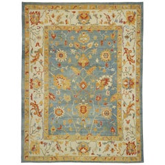 New Turkish Oushak Rug with Parisian Style and Large Scale Geometric Pattern