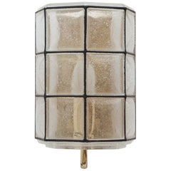 Set of 1960s Brass and Glass Sconces Designed by Glashütte Limburg, Germany