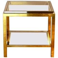 Jean Charles Signed Brass and Chrome Two-Tiered Side or End Table, France