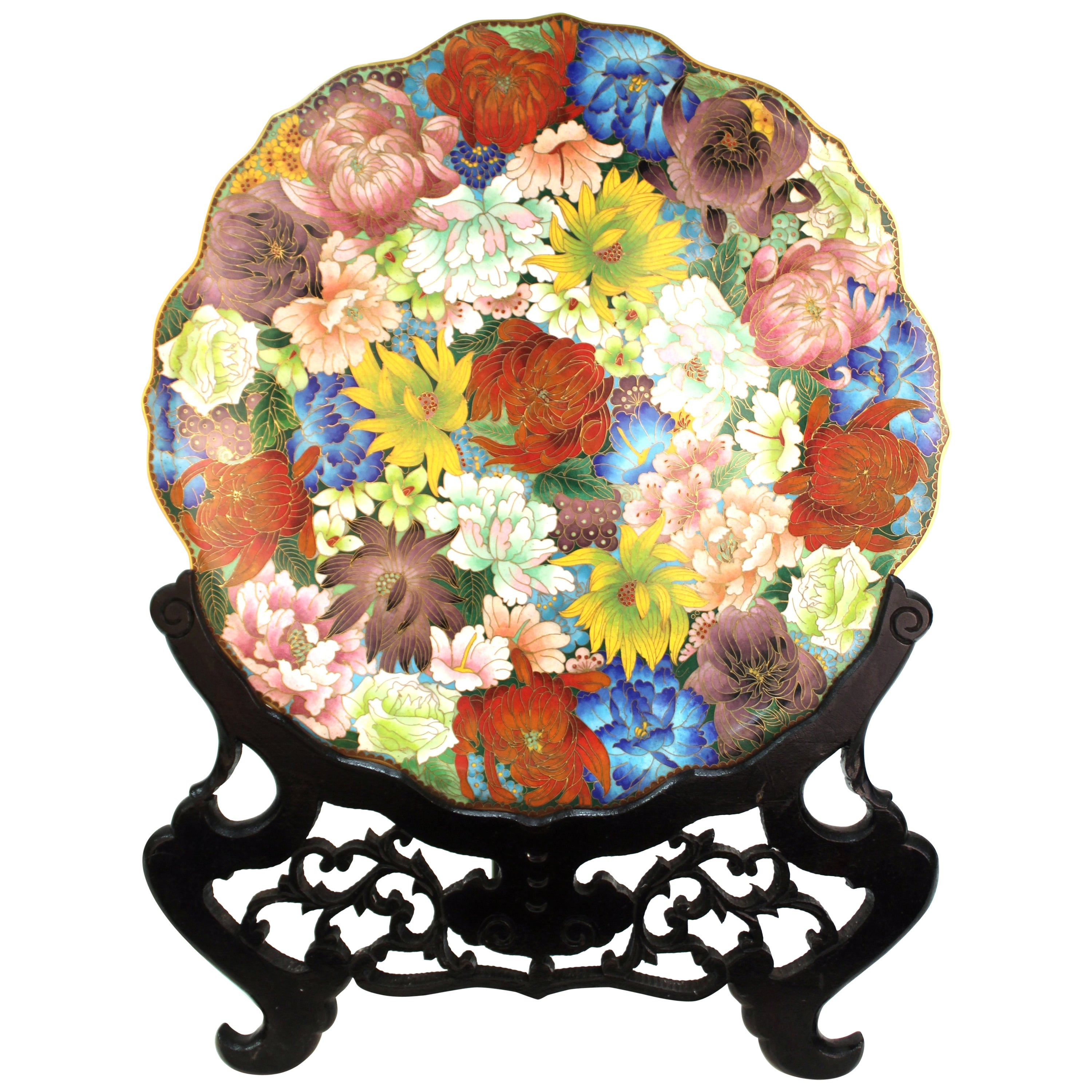 Chinese Enamel Cloisonné Charger with Multicolored Floral Motif