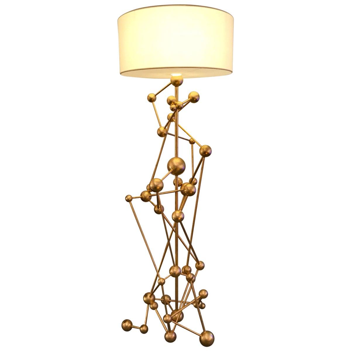 Floor Lamp Atomica Iron Gold Leaf by Antonio Cagianelli, Italy, 2018