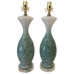 Pair of Vintage French Green and White Glass Table Lamps on Lucite Bases, 1960s