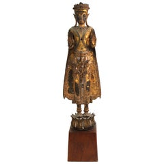 Thai Gilded Mirrored Bronze Buddha Statue on Wooden Base