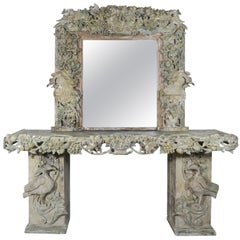 19th Century Italian Carved Wood Painted Console and Mirror