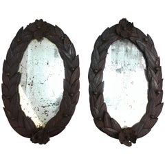 French Neoclassical Wrought Iron Mirrors with Laurel Leaf Border