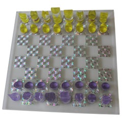 Mod Psychedelic Lucite Chess Set with Board