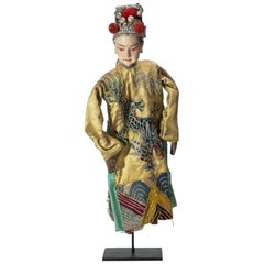 Vintage Chinese Opera Theatre Marionette, Yellow Silk Robe, Red Pom Poms