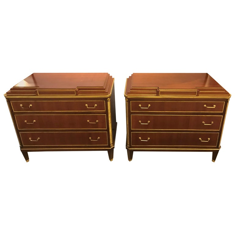 Mahogany Double Step Up Russian Neoclassical Style Commodes / Night Stands, Pair