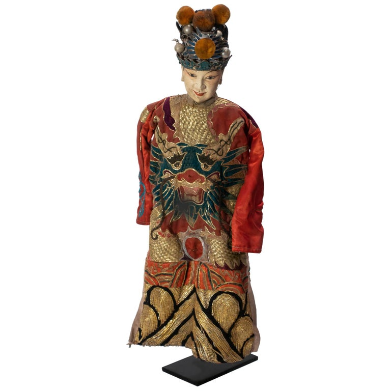 Vintage Chinese Opera Theatre Marionette, Red Silk Robe, Orange Pom Poms For Sale