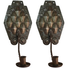 German Jugendstil Wall Candle Sconces in Silvered Wrought Iron and Brass