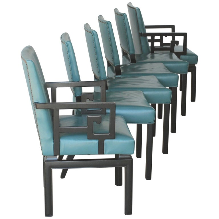 Set of Six Greek Key Turquoise Leather Ebonized Far East Baker Dining Chairs