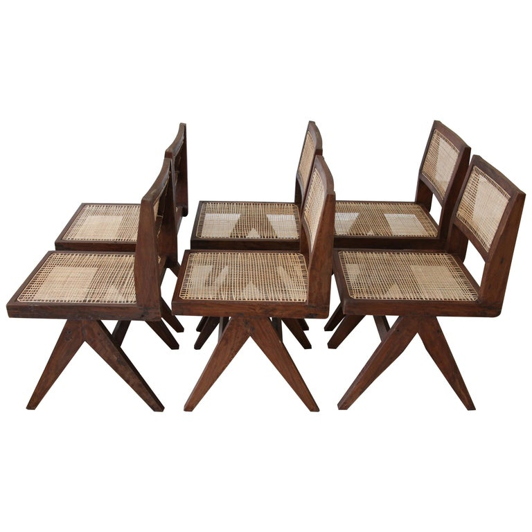Pierre Jeanneret, Set of Six Armless V-Leg Chairs from Chandigarh, circa 1955 For Sale
