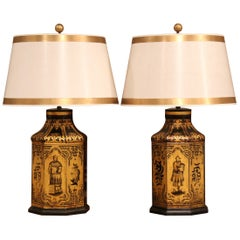 Pair of Late 19th Century English Hand Painted and Gilt Tole Tea Canisters Lamps
