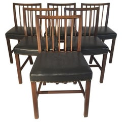 Set of Six Danish Leather Upholstered Mahogany Dining Chairs