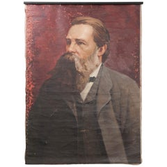 French 19th Century Large Portrait on Canvas