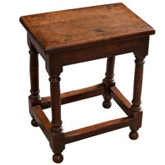 English Late 19th Century Oak Joint Stool