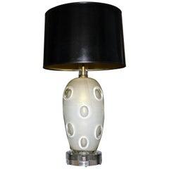 Barovier Murano Cream Gold Dimple Glass Table Lamp