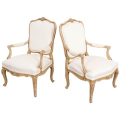 Pair of 19th Century French Painted Louis XV Fauteuils