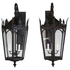 Pair of French Wrought Iron Gothic Style Lantern Sconces