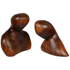 Two Modernist Figurative Carved Wood Bust Sculptures