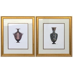 Pair of Large Scale Neoclassical Etruscan Urn Prints After Henry Moses