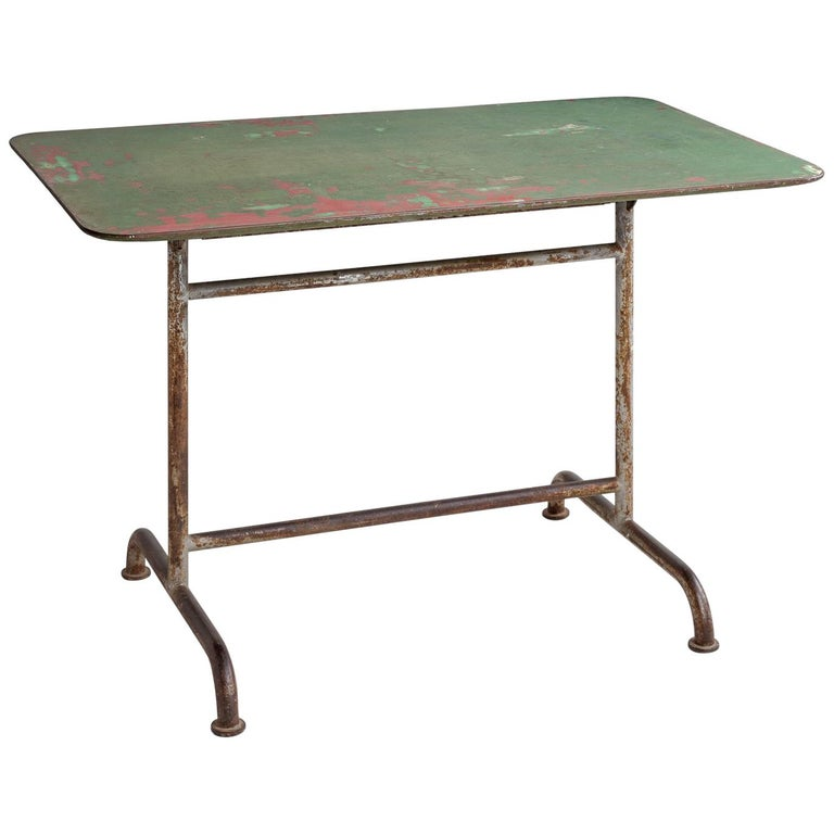 Iron Factory Table, circa 1920 For Sale