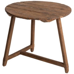 Primitive Oak Tripod Table, circa 1920