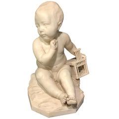 """""""Enfant à la Cage"""" Marble Sculpture after Jean-Baptiste Pigalle"""