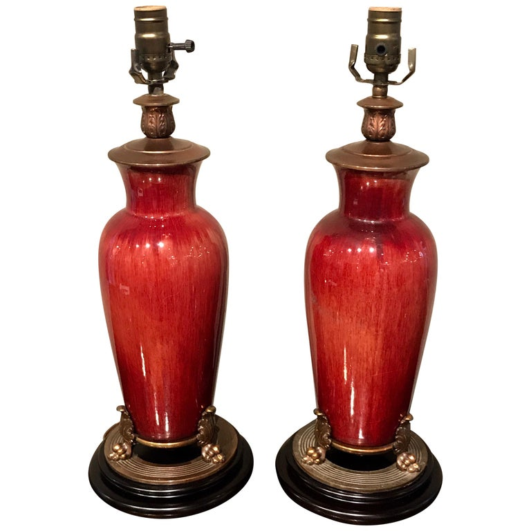Pair of Chinese Export Sang de Boeuf Vases, Now as Lamps