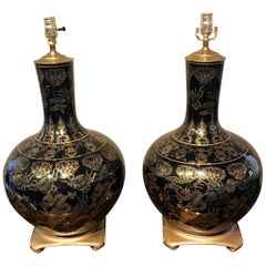 Pair of Large Mirror Black Chinese Export Vases, Now as Lamps