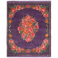 Sofinka Wrapped Hand-Knotted Silk and Wool Blend Rug with Fringes