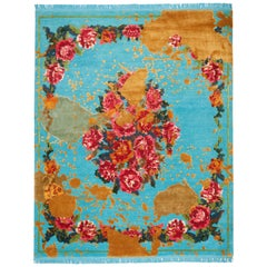 Sofinka Splashed Hand-Knotted Silk and Wool Blend Rug with Fringes