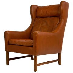 Danish High Back Leather Chair with Rosewood Base