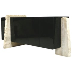 1970s Brutalist Travertine and Black Glass Credenza Cabinet