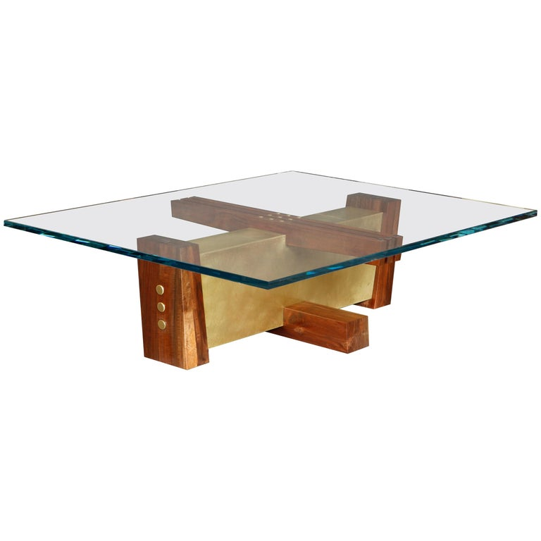 """""""FLW"""" Coffee Table in Starphire Glass, Walnut and Etched Brass by Studio Roeper"""