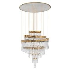 Luxxu Babel Round Chandelier in Brass and Crystal Glass