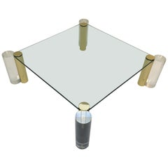Polish Brass and Lucite Cocktail Table by Les Prismatiques