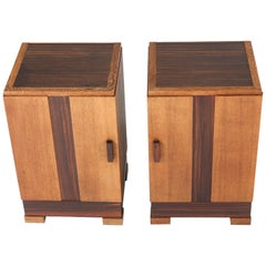 Pair of Oak Dutch Art Deco Haagse School Night Stands or Bedside Tables, 1920s