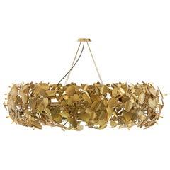 Luxxu McQueen Round Pendant Light in Gold-Plated Brass with Swarovski Crystals